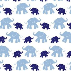 Cute Elephant - Navy/Blue Flannel by David Textiles Fabric by the yard