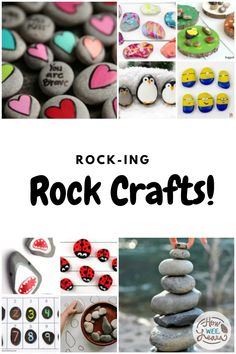 Easy Rock crafts for kids to make! If you are looking for a fun spring craft, it might be right under your toes! Go for a nature walk and collect some rocks or stones. Head back home for an afternoon of nature crafts! Creative Arts And Crafts, Crafts For Kids To Make, Crafts For Teens, Kids Crafts, Easy Crafts, Art For Kids, Outdoor Activities For Kids, Kids Learning Activities, Activity Ideas