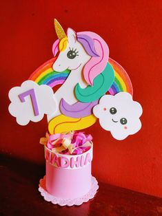4th Birthday Parties, Birthday Party Decorations, Party Themes, Carousel Party, Unicorn Themed Birthday, Unicorn Baby Shower, Baby Mobile, Happy B Day, Foam Crafts