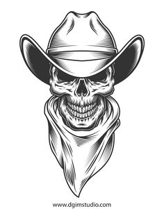 Buy Monochrome Vintage Skull by imogi on GraphicRiver. Monochrome vintage skull with cowboy hat. Skull Tattoo Design, Skull Tattoos, Sleeve Tattoos, Skull Design, Evil Skull Tattoo, Art Tattoos, Tattoo Cowboy, Tattoo Sketches, Tattoo Drawings