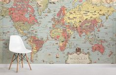 Vintage Bedroom kids-vintage-world-map-room - Kids Vintage Map Wallpaper is authentic in style and color, an illustrated design that is perfect for a child's bedroom to create an interesting feature wall. World Map Mural, Kids World Map, World Map Wallpaper, Kids Wallpaper, Wall Wallpaper, Wallpaper Designs, Bedroom Wallpaper, Retro Wallpaper, Animal Wallpaper
