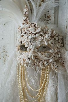 Ornate art mask wall hanging white handmade by AnitaSperoDesign