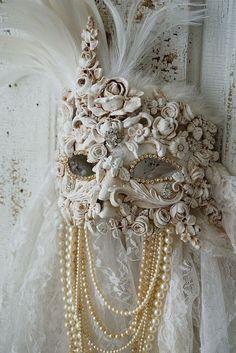 Ornate art mask wall hanging white handmade by AnitaSperoDesign
