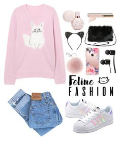 """Feline Fashion"" by neirak ❤ liked on Polyvore featuring adidas Originals, Levi's, Casetify, Cara, Vans, Torrid, Beautycounter and catstyle"