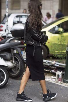 Sneaker head style | Black jacket | Long dress | Adidas | Street fashion