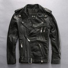 Read Description! Asian size mens genuine cow leather jacket male cowhide zipper harley motorcycle rider leather jacket. Yesterday's price: US $379.66 (339.15 EUR). Today's price (November 10, 2018): US $201.22 (179.75 EUR). Discount: 47%. #Jackets #Coats