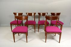 So cool, in San Diego.  Very easy to replace the cushion material.     Set of 6 Danish Modern Mid Century Walnut Dining Chairs