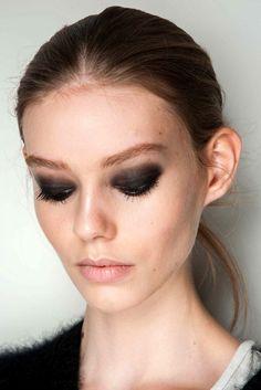 Backstage Beauty At Diane Von Furstenberg F/W 2015 // smokey brown eyes & nude lips #beauty #makeup