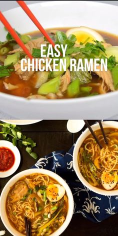 This Easy Chicken Ramen can be made at home in about 30 minutes! A flavorful broth with chicken and noodles, and don't forget the ramen egg! Easy Chicken Ramen Maria-Sophie Jnkl mrsmariasophie All ABOUT Food. This Easy Chicken Ramen can be made at Homemade Ramen, Cooking Recipes, Healthy Recipes, Veg Recipes, Korean Food Recipes, Chinese Soup Recipes, Thai Curry Recipes, Bok Choy Recipes, Budget Recipes
