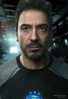 Realistic CG portrait of Robert Downey Jr ( Ironman ), Frank Tzeng on ArtStation at https://www.artstation.com/artwork/realistic-cg-portrait-of-robert-downey-jr-ironman