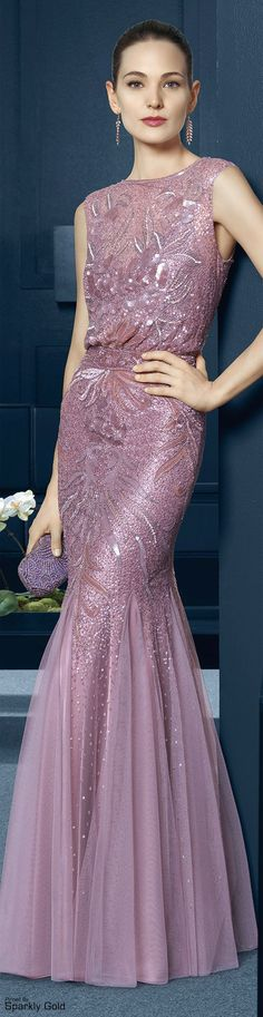 Rosa Clará 2015...mauve, high neck, sleeveless, mermaid, godet, beaded, sequins, embellished, blouson, gown, dress, evening