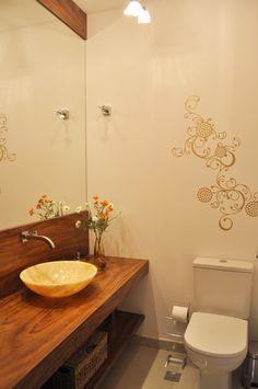 banheiros com bancada madeira - Pesquisa Google