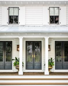 Farmhouse Exterior Design Ideas - The farmhouse exterior design completely reflects the entire style of your house as well as the household tradition also. The modern farmhouse style is not only for. Farmhouse Front Porches, Modern Farmhouse Exterior, Farmhouse Homes, Farmhouse Style, Farmhouse Architecture, Exterior French Doors, Front French Doors, Bedroom With French Doors, French Doors To Patio