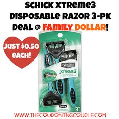AWESOME deal ~ be sure to get yours this week! Schick Xtreme3 Razors 3-pk Deal @ Family Dollar ~ Only $0.50!  Click the link below to get all of the details ► http://www.thecouponingcouple.com/schick-xtreme3-razors-3-pk-deal-family-dollar-only-0-50/ #Coupons #Couponing #CouponCommunity  Visit us at http://www.thecouponingcouple.com for more great posts!
