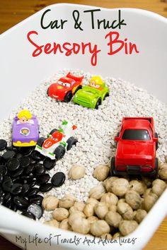 Car + Truck Sensory Bin | #TotSchool #SensoryBin #Car #Truck #Homeschool #Preschool #Vehicle