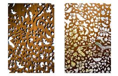 """This is what I want made for in front of the windows in the Women's/Child Lounge   Laser-cut wood panels  As I've been describing """"laser-cut wood panels"""", I don't think folks were catching my drift. So for illustrative purposes I searched and found these. I had been thinking """"organic/nature inspired motif"""", something like trees, and there are four windows so I thought each could have a tree in one of the four seasons.  Not trees, but I liked all the natural elements this design represents."""