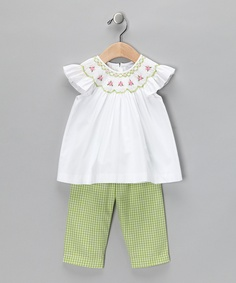 White & Lime Green Angel-Sleeve Top & Pants - Infant