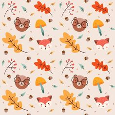 No photo description available. Cute Fall Wallpaper, Iphone Wallpaper Fall, Wallpaper Backgrounds, Fall Patterns, Textures Patterns, Print Patterns, Autumn Illustration, Pattern Illustration, Surface Pattern Design