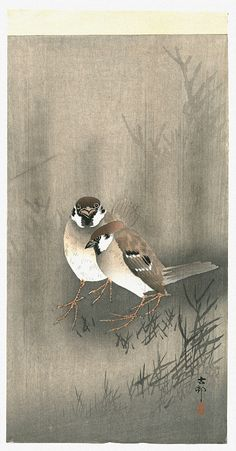 Two Sparrows by Ohara Koson-repinned from woodblock prints board