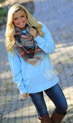 Monogrammed Sweatshirt + Blanket Scarf? Yes, please!
