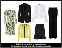 """Wardrobe Clusters -- interesting idea -- creating clusters of 5-8 coordinating pieces from what's in your closet already. """"This cluster creates 14 outfits before the addition of accessories."""""""