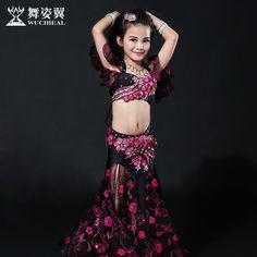 2016 Hot Sale Wuchieal Brand High Grade Bellydance Costumes 2017 New Kid Girls Belly Dance Performance Top+skirt Suits Rt059