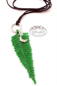 Necklace with a pendant in the shape of a fern, fern pendant, handmade pendant, weaved pendant, unique jewelery,gift for her, by Szupa on Etsy