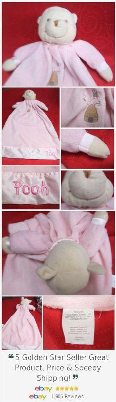 Pooh Baby Lovey security blanket Pink embroidered bee hive Disney 23x15