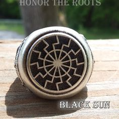 Black Sun Ring by Honor the Roots This Black Sun ring contains the most mystical and mysterious symbol used by Norse and Germanic Pagans today. It is an ancient sunwheel and is known by many names, including the Sonnenrad and the Schwarze Sonne. The Black Sun plays an integral role in initiation and has significant occult and esoteric uses.