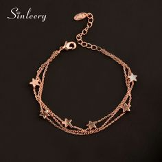 Charm Star 3 Layer Chain Bracelet Bangle For Women Girl Silver Rose Gold Color Gold Jewelry Simple, Stylish Jewelry, Cute Jewelry, Fashion Jewelry, Hand Bracelet, Bangle Bracelets, Layered Bracelets, Silver Bracelets For Women, Accesorios Casual