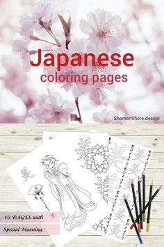 #ShShPrintables Japanese coloring pages for grown ups | Japanese hieroglyphs and geishas, coloring pages for adults | Printable adult coloring book on Etsy