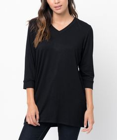 Another great find on #zulily! Caralase Black V-Neck Tunic by Caralase #zulilyfinds