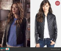 Emily's quilted racing stripe jacket on Pretty Little Liars.  Outfit Details: http://wornontv.net/44335/ #PLL