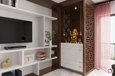 10 Mandir Designs For Contemporary Indian Homes unit With Mandir 10 Divine Pooja Room Designs for Urban Homes Temple Room, Home Temple, Temple House, Tv Wall Design, House Design, Temple Design For Home, Mandir Design, Pooja Room Door Design, Living Room Tv Unit Designs