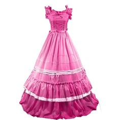Partiss Women Bowknot Ruffles Square Collar Gothic Victorian Dress,xs,Rose