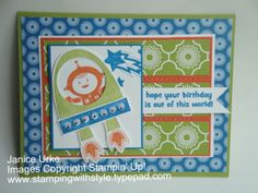 Cute card for kids made using Stampin' Up! products.  Blast Off stamp set, international bazaar DSP.    stampingwithstyle.typepad.com