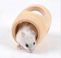 Cages Lovely Rat Hamsters Molar House Wine Barrel Shaped Wooden House Bed Cage Wood Toys For Drop Ship Home & Garden
