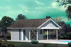 #PoolhousePlan 85954 comes with step by step instructions and a complete list of materials to create this poolside structure. Includes two dressing areas with shower and toilet,a covered snack & drink bar, and a storage area for lawn and pool equipment.