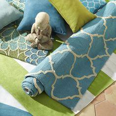 Cabana Geometric Rugs - Turquoise