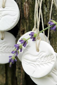 Natural air-dry clay diffusers - a quick dose of aromatherapy in a busy day. Add a few drops of your favourite essential oil - enjoy as the scent diffuses into the air!  #aromabotanical