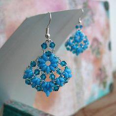 Náušnice: Modré so Swarovskim