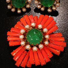 Schreiner ruffle brooch and earrings