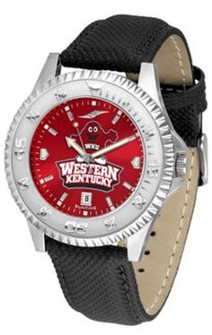 Western Kentucky Hilltoppers Competitor AnoChrome Men's Watch with Nylon/Leather Band by SunTime. $85.45. Showcase the hottest design in watches today! A functional rotating bezel is color-coordinated to compliment the NCAA Western Kentucky Hilltoppers logo. A durable, long-lasting combination nylon/leather strap, together with a date calendar, round out this best-selling timepiece.The AnoChrome dial option increases the visual impact of any watch with a stunning radial reflect...