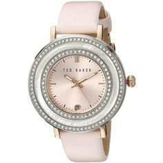 """Ted Baker """"Vintage Glam"""" Crystal-Accented Stainless Steel Pink Watch ($131) ❤ liked on Polyvore featuring jewelry, watches, water resistant watches, ted baker watches, vintage wristwatches, analog wrist watch and dress watch"""