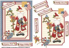 Quilters patchwork Santa quick card on Craftsuprint designed by Carol Smith - a quick make topper sheet for Christmas has a patchwork Santa with his gifts in his hands, great for all but perfect for those who enjoy quilting, co-ordinating tags say merry Christmas in English, French, Spanish, Danish and Welsh.thank you for looking please take a peek at my other items - Now available for download!