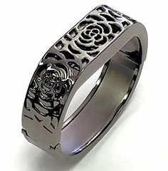 BSI Elegant New Titanium Black Metal Replacement Jewelry Bracelet With Unique Flowers Design Titanium Black Metal Housing For Fitbit Flex Wireless Activity Tracker Wristband Fitness Smart Band *** To view further for this item, visit the image link.