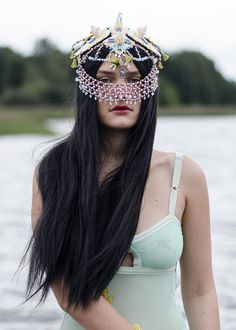 burning man headpiece  Chinese wedding headdress  Festival