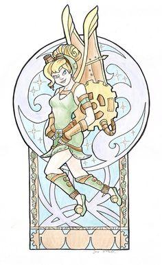 Steampunk Tinkerbell Nouveau Small Print Item 03080AA by khallion, $15.00 @Mari Moore !!!!