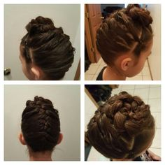 Two subsection in the front flip in and a braid  into A bun.