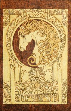 Noble Horse Art Nouveau style decorative wooden by YANKAcreations, $99.90